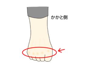 足指に力を入れると骨が浮き出る様子