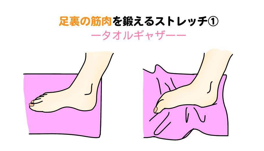 足裏の筋肉を鍛えるストレッチ|タオルギャザー